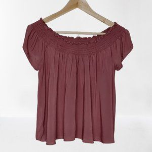 """Aritzia Talula """"Cabrini"""" Off the Shoulder Smocked / Ruched Top in Dusty Rose"""